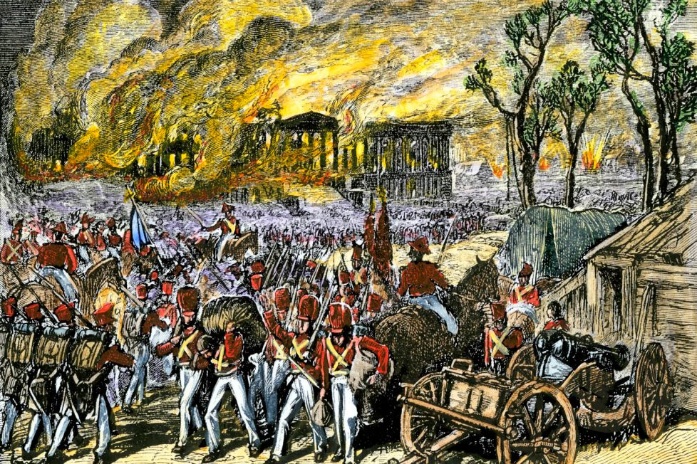 An image of the British burning Washington D.C.